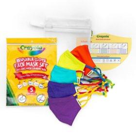 Crayola Kids Reusable Cloth Face Mask Set, Cool Colors (5 pk.)
