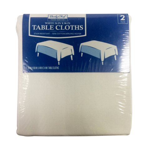 "Daily Chef Rectangular Tablecloth, White (54"" x 96"", 2pk.)"