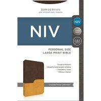NIV Personal Size Bible, Large Print, Chocolate/Amber Leathersoft