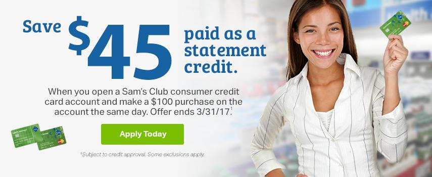 Sam's Savings - Statement Credit