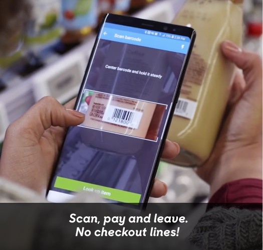 Scan, pay and leave. No checkout lines!