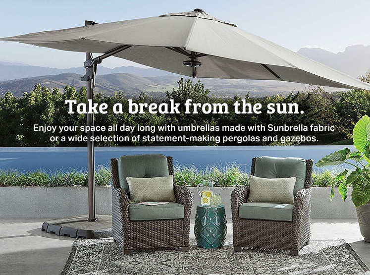 Take a break from the sun with outdoor umbrellas made with Sunbrella fabric, pergolas and gazebos.