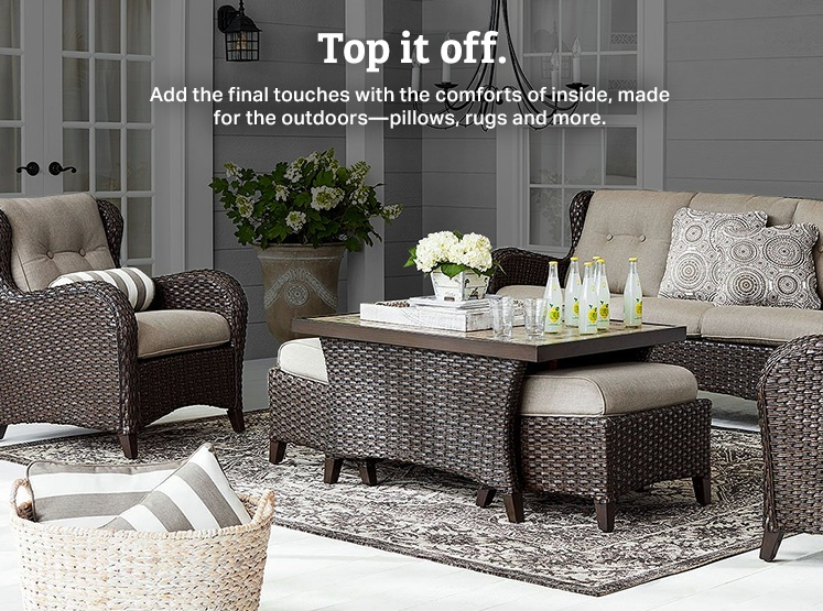 Add final touches to your patio with pillows, rugs and more statement making pieces.