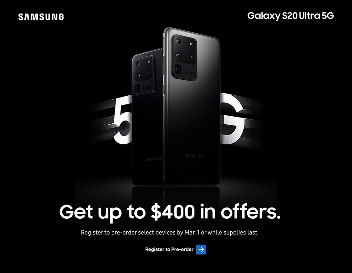 Register to preorder latest Samsung devices by March 1 or while supplies last. Get up to 400 dollars in offers.