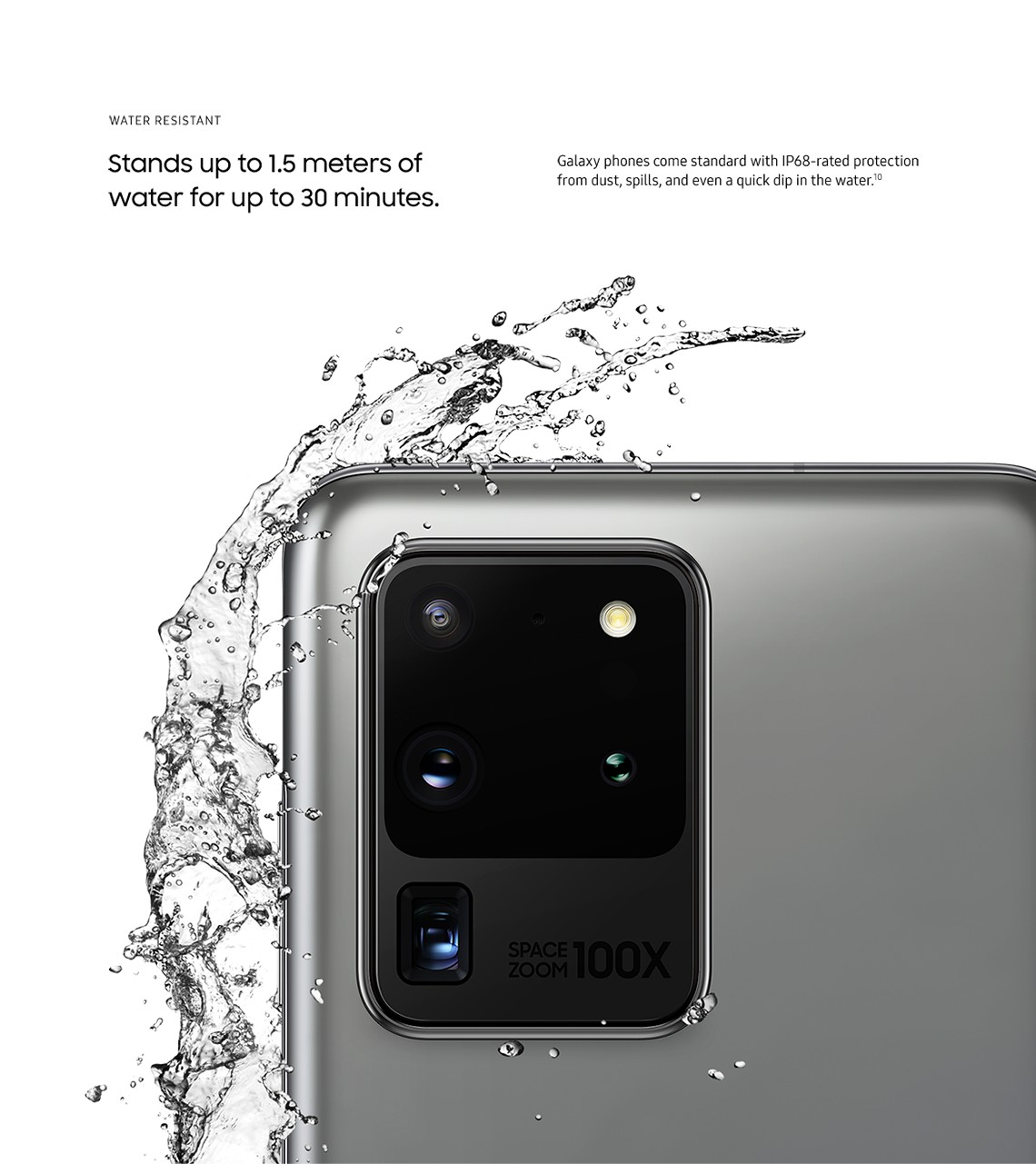Galaxy phones are water resistant in up to 1 and a half meters of water for up to 30 minutes.