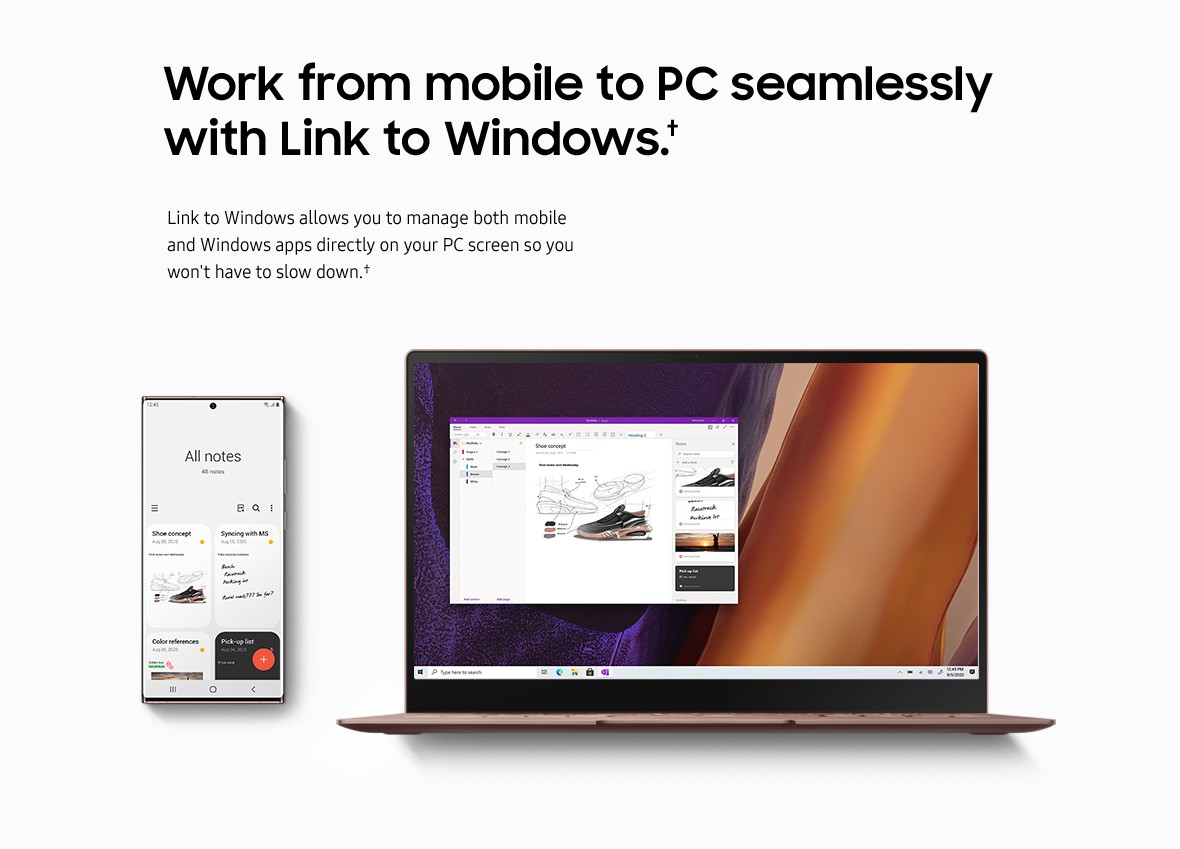 Work from mobile to PC seamlessly with Link to Windows