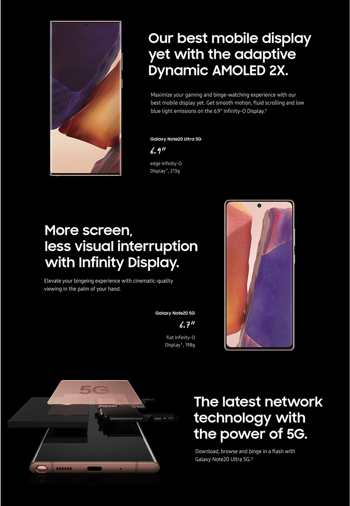 Our best mobile display.  More screen, less visual interruption.  The latest network technology with the power of 5G.