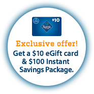 1-Year Sams Club Savings Membership + $10 GC + $26 in Food Items
