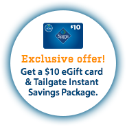 1-Year Sams Club Savings Membership + $10 Gift Card + $28 Off Tailgate Package